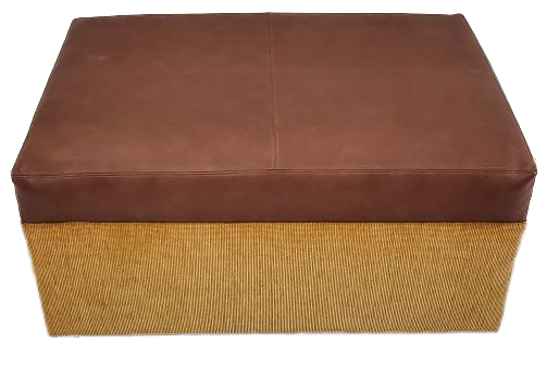 yellow ottoman with brown top side view