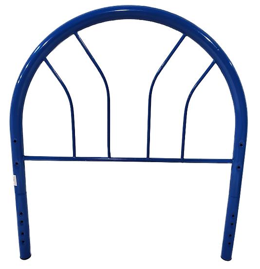 blue metal twin headboard front view