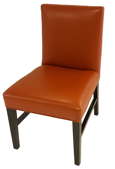 Orange vinyl dining chair with wooden legs side/top view