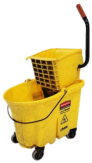 yellow industrial mop bucket with thing to wring out mop diagonal side view