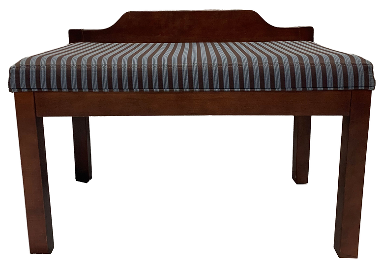 wood bench with blue striped cushion front view
