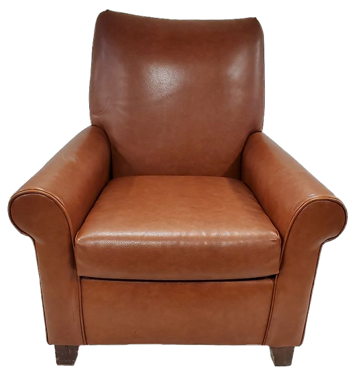 toffee colored faux-leather comfort chair front view