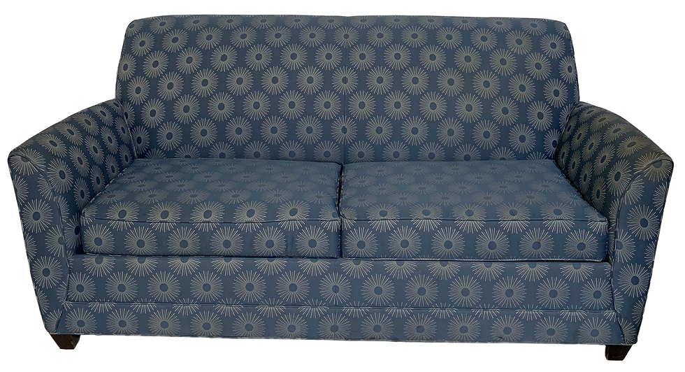 blue sofa bed with sun burst print