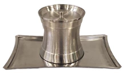 cylindrical metal ice bucket with lid sitting on rectangular metal tray