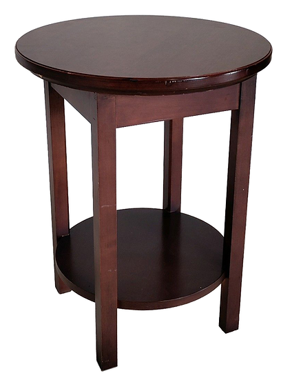 round wood end table side view