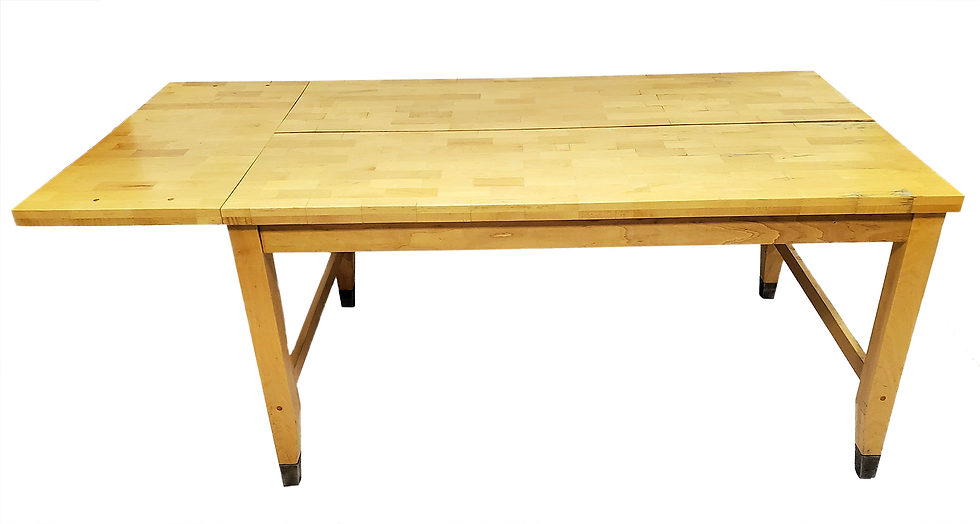 light wood butcher block table side view