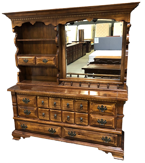 large old fashioned wooden dresser with shelf hutch and mirror front view