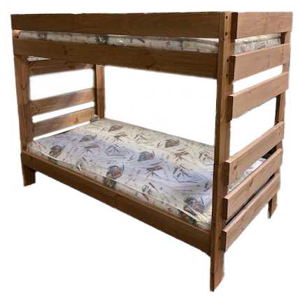 new wood bunk bed with mattresses