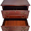dark wood file cabinet with two drawers and eight metal pulls with drawers open front view