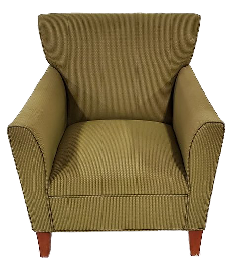 yellow beige comfort chair with arms front view