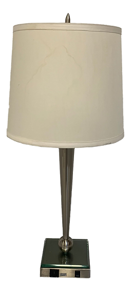 table lamp with metal base and white shade