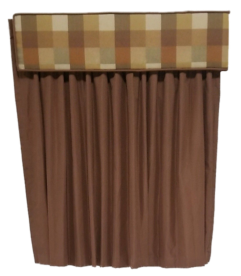 brown and tan checkered cornice and brown drapes