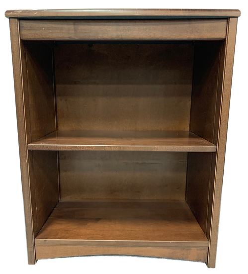 brown wood bookshelf with two shelves front view