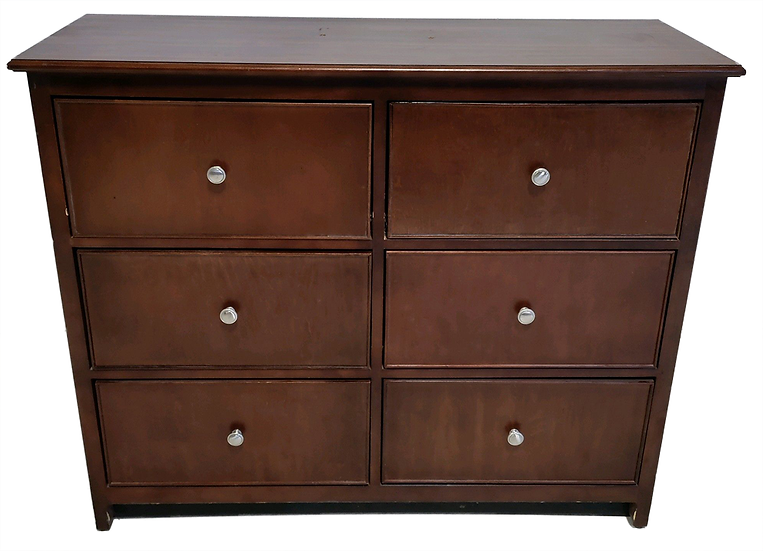 wood six drawer dresser with round silver pulls front view