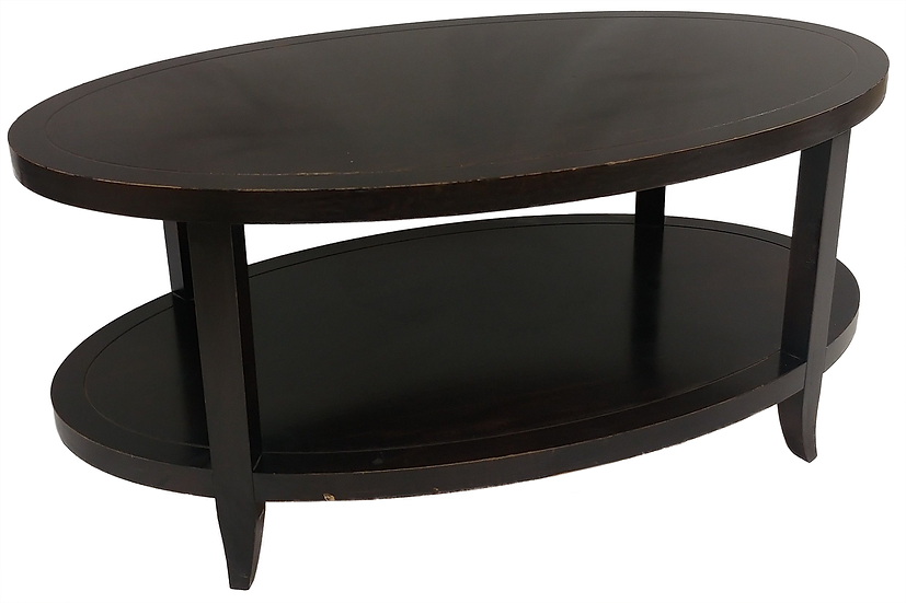 oval shaped two-tier dark wood coffee table front view