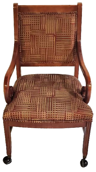 wooden dining chair with brown and tan cloth seat and back front view
