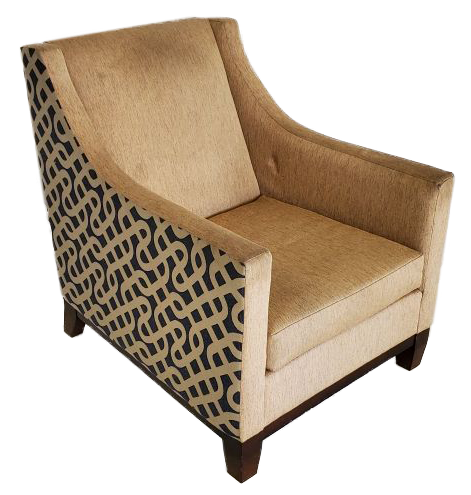 tan armchair with black and tan swirling pattern on sides side view