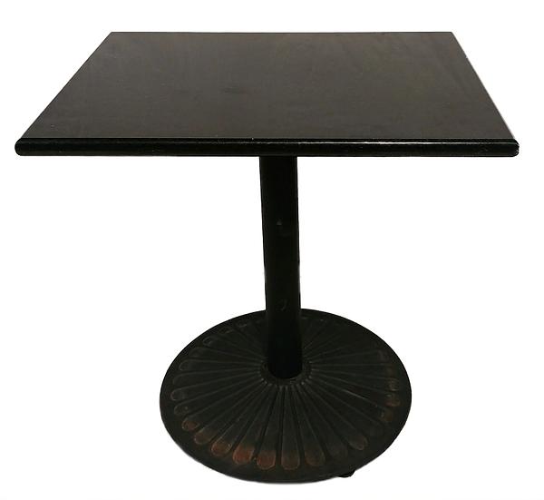 black granite pedestal table side view