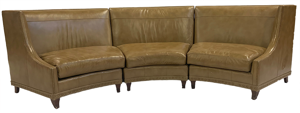 large tan leather curved half moon sofa front view