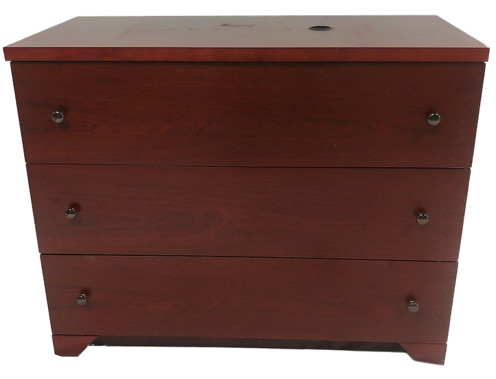 large dark wood three drawer dresser front view