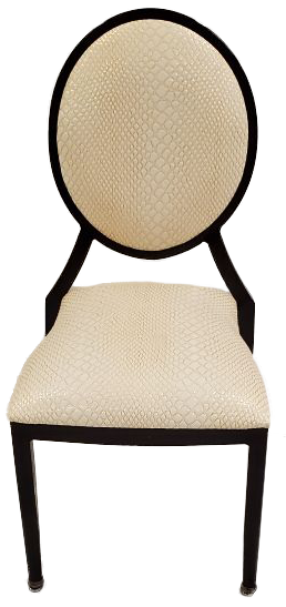 white faux snakeskin material stack chair with brown frame front view