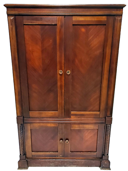 wood armoire with large cabinet on top and small on the bottom front view