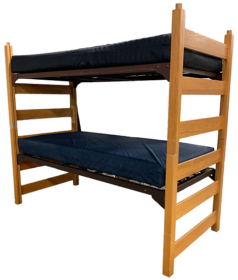wood bunkbed with blue mattresses side view