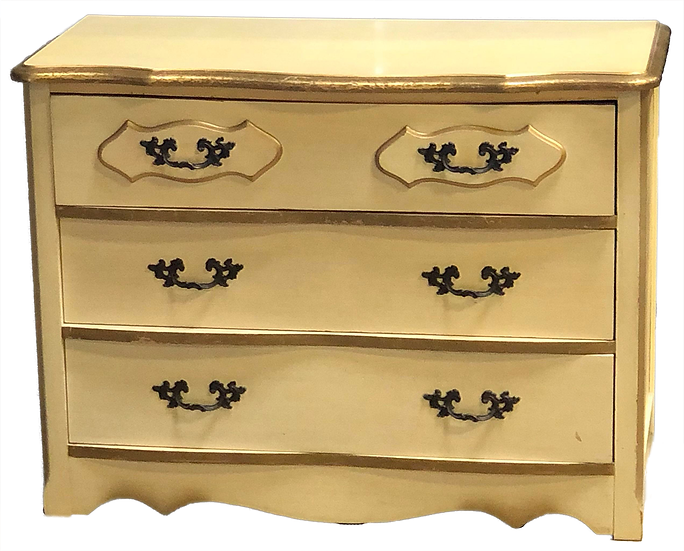 old fashioned cream colored wood dresser front view