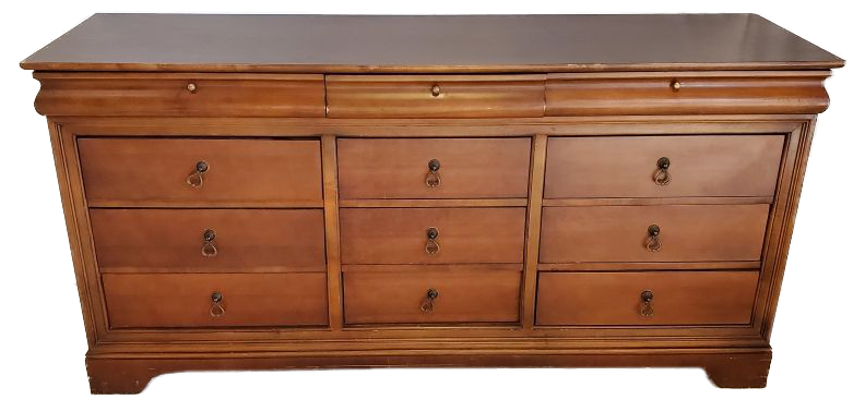 large wood dresser with 3 rows of 4 drawers front view