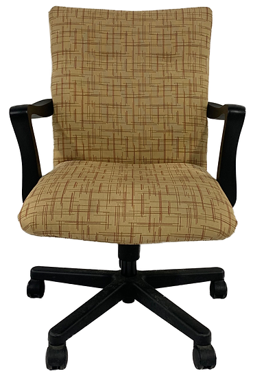 yellow and red line pattern task chair with black arms and legs front view