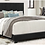 Black faux leather queen bed. in a bedroom with blankets, sheets, and pillows on top.