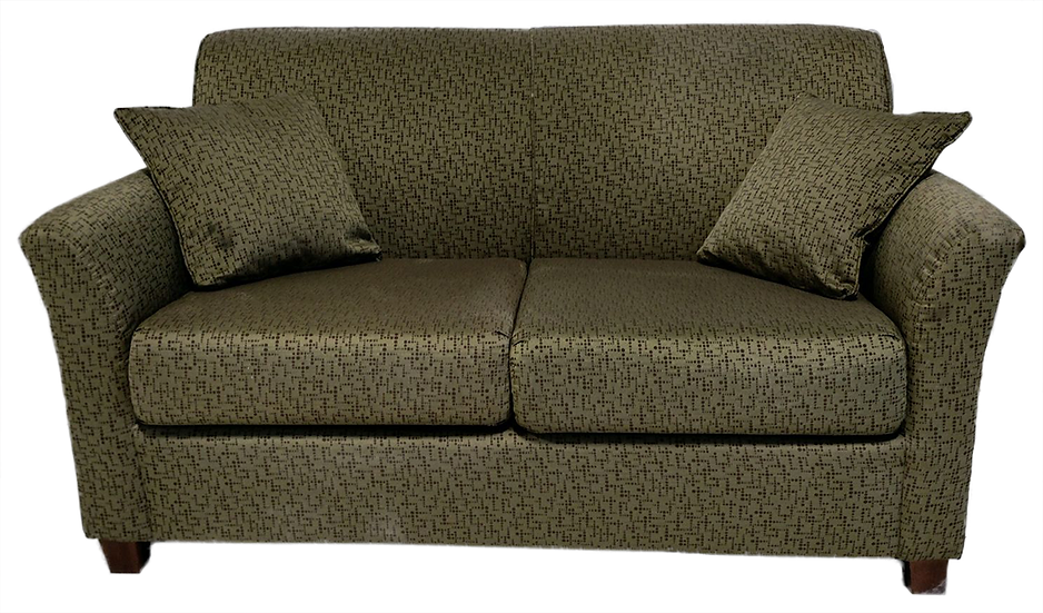 olive green and brown love seat with geometric dots pattern and two throw pillows front view