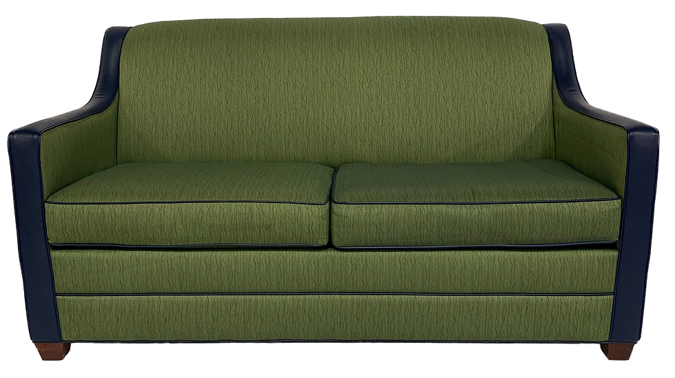 green sofa bed with blue arms and back