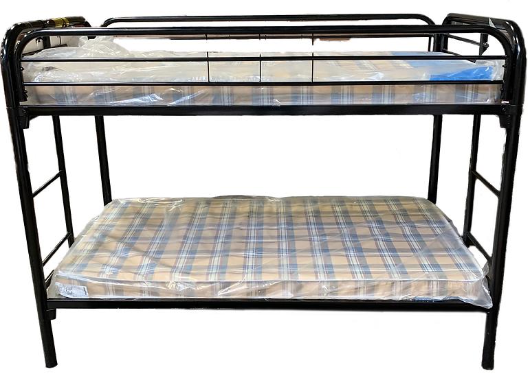 side view black metal bunk bed