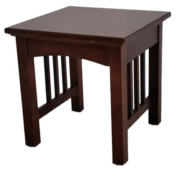 dark wood square end table with slats on the sides. diagonal front view