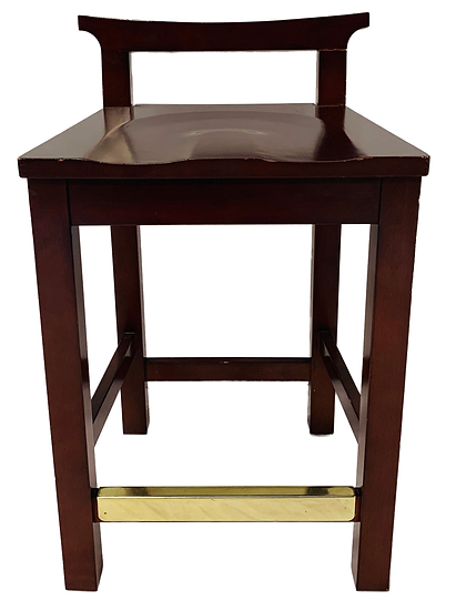 brown wood counter stool with gold foot bar front view