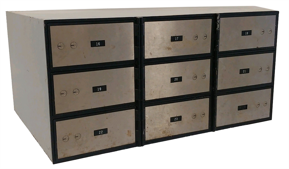 safety deposit box with wider larger drawers front view