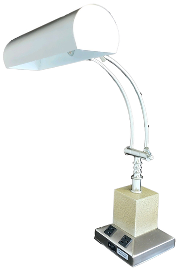 fancy metal desk lamp with white shade and gold details side view