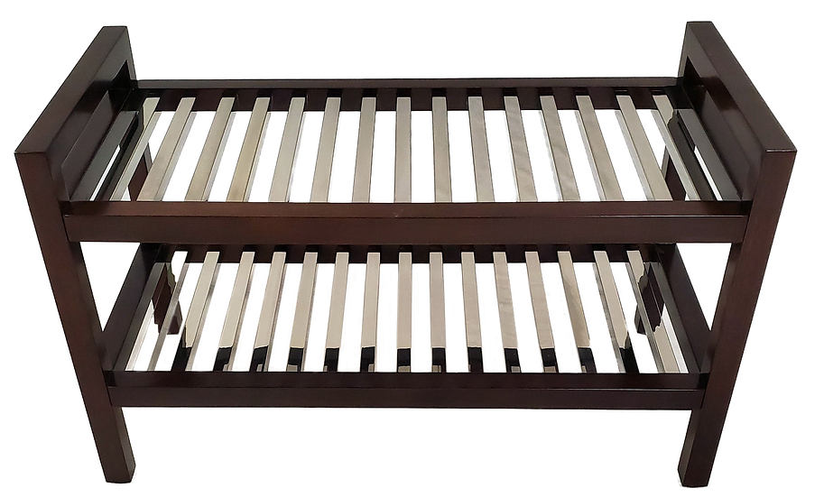 dark wood towel shelf with metal slats front view