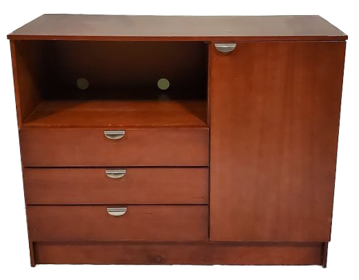 wood dresser with 3 drawers, shelf and cabinet with door closed front view