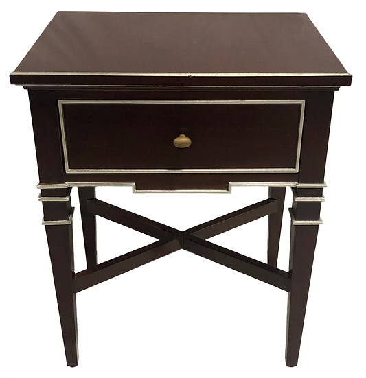 dark woo night stand with silver trim, one drawer with round bronze pull
