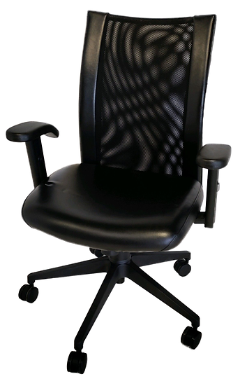 black vinyl ergonomic task chair with arms and mesh back front view