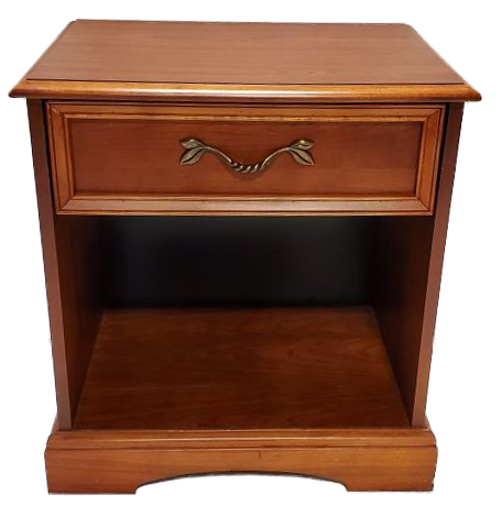 wooden nightstand with a drawer and shelf front view