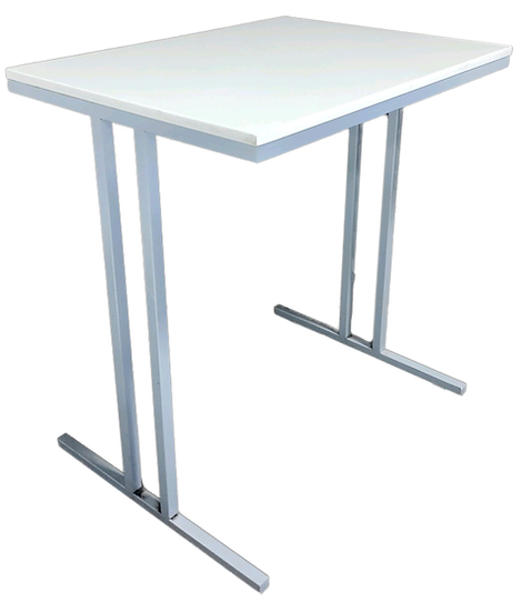 square white accent table with metal legs side view