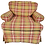 red yellow green plaid comfort chair