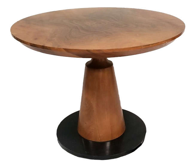 wooden pedestal table with black base front view