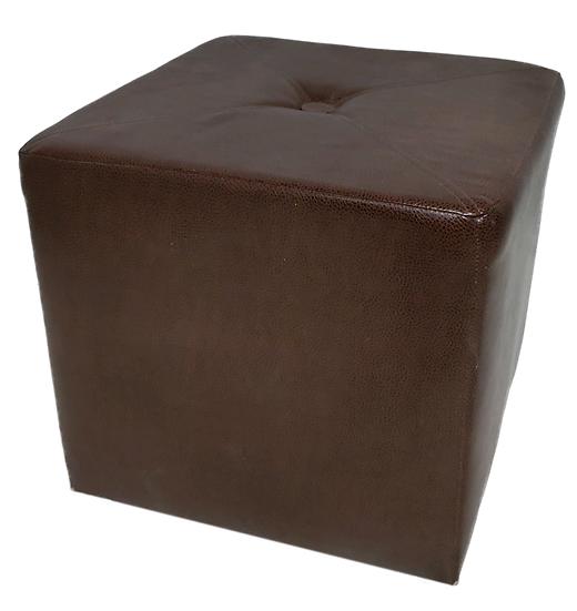 brown vinyl square ottoman side view