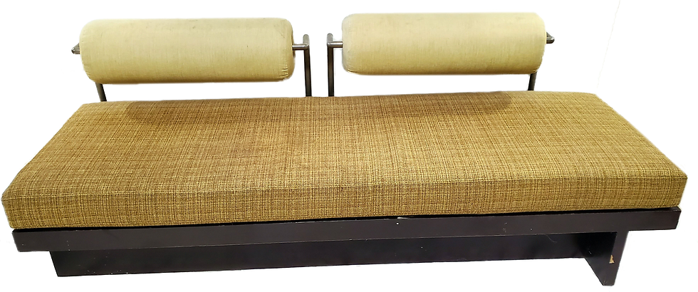 yellow bench with cylindrical head rests front view