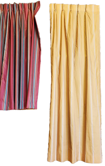 two drapes red and blue stripes on left and yellow longer ones on right