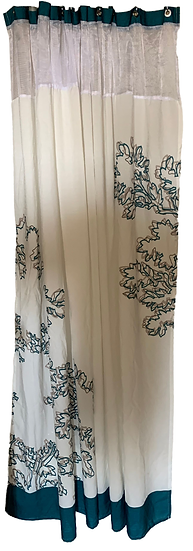 white shower curtain with blue trim and blue and grey flower pattern